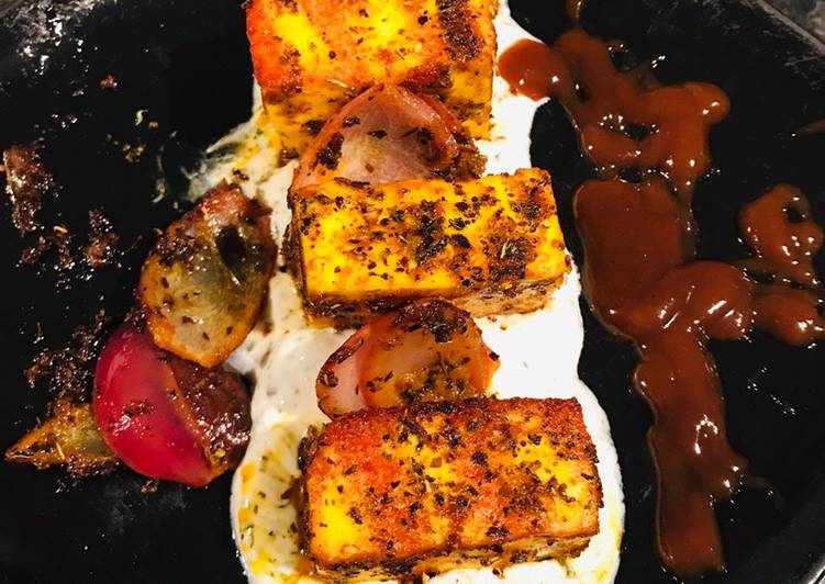 Basil Paneer Tikka Masala and mint yoghurt