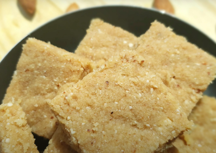 Steps to Make Speedy Healthy Wheat and Almond flour Sukhdi | Gujarati Sukhdi | Soft Sukhdi recipe | Gudpapri | golpapdi