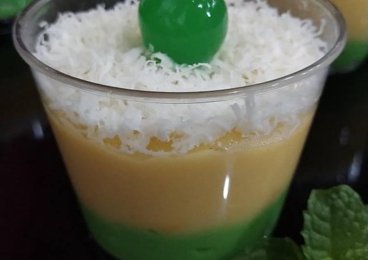 Custard Pandan Cheese Corn Pudding
