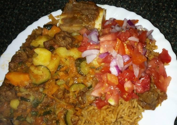 Beef potatoe stew and kachumbari