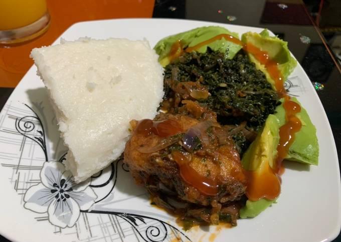 Ugali, kales and fish