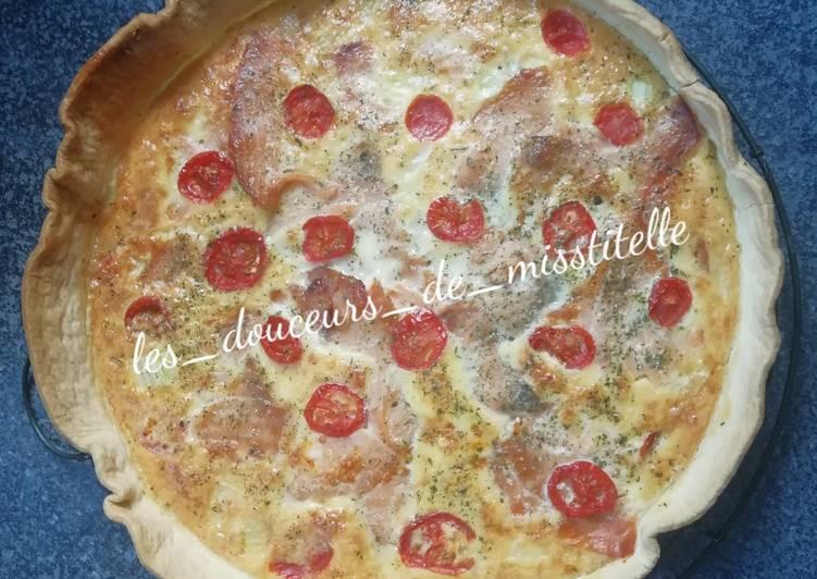 recette Tarte au saumon fumé et tomates cerise délicieux