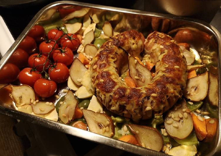 Simple Way to Prepare Top-Rated Swedish falukorv (sausage) in oven with roasted vegetable & pear
