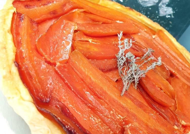 Tarte tatin aux carottes et fromage de chèvre