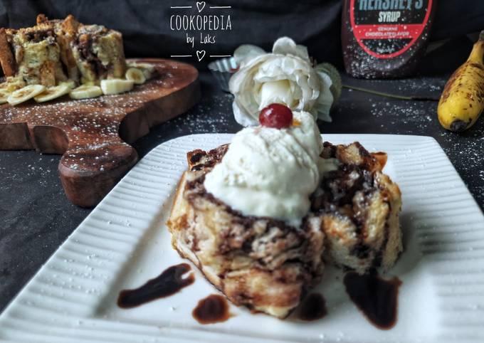 Chocolate Banana French toast swirls