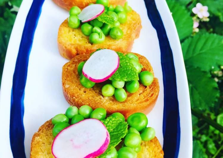 Recipe of Ultimate Pea and Mint bruschetta