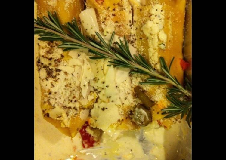 Lasagnes façon cannelloni à la ricotta parmesan jambon cru et tomates