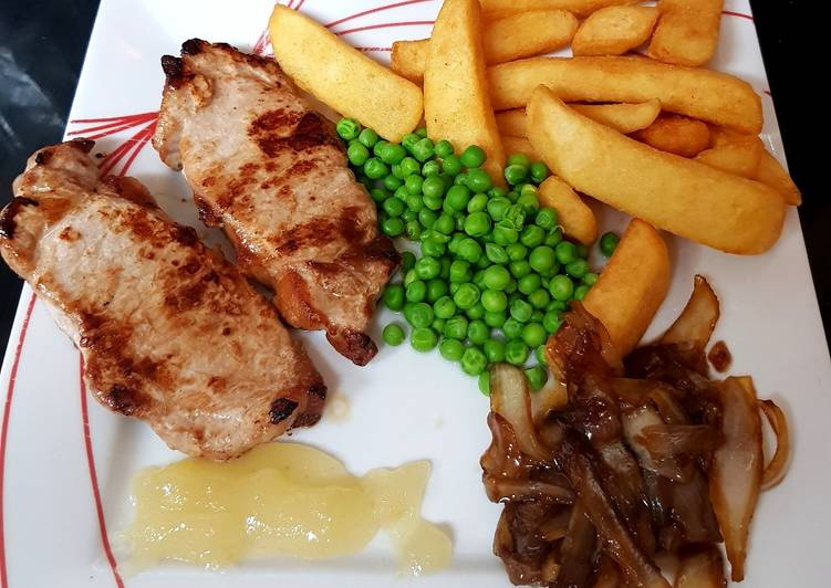 Recipe of Ultimate My pork loin chops with Carelamized onions & Apple sauce.�