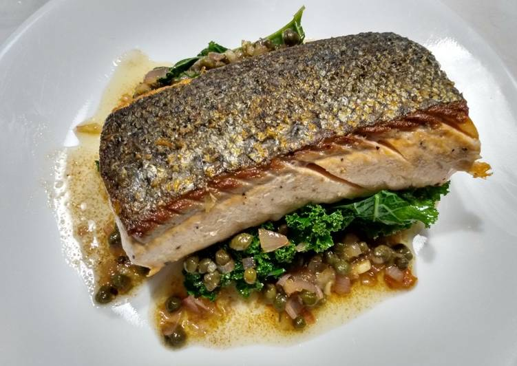Step-by-Step Guide to Prepare Perfect Crispy-skinned salmon with brown butter and capers