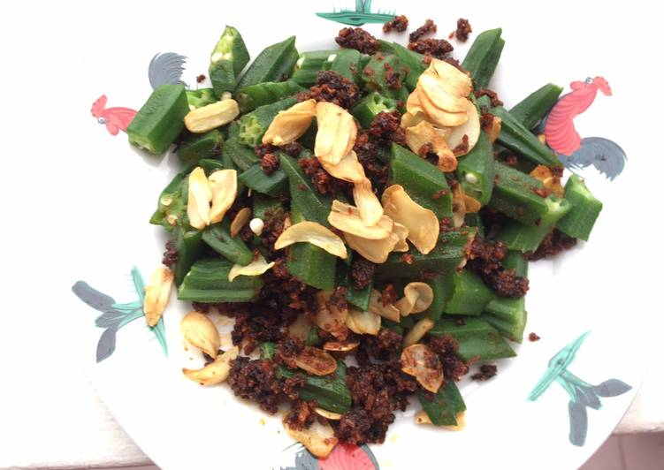 Recipe: Delicious Okra With Seaweed Chilli And Fried Garlic