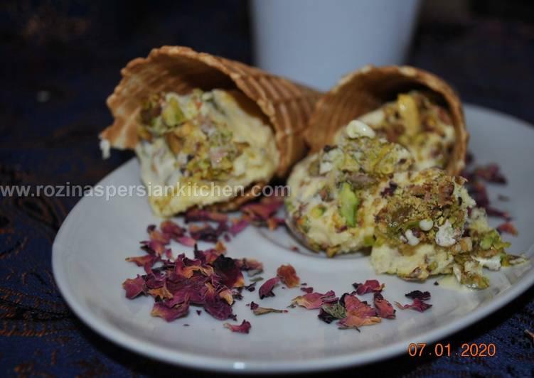 Traditional Iranian Saffron ice cream (Bastani Sonnati-e Irani)