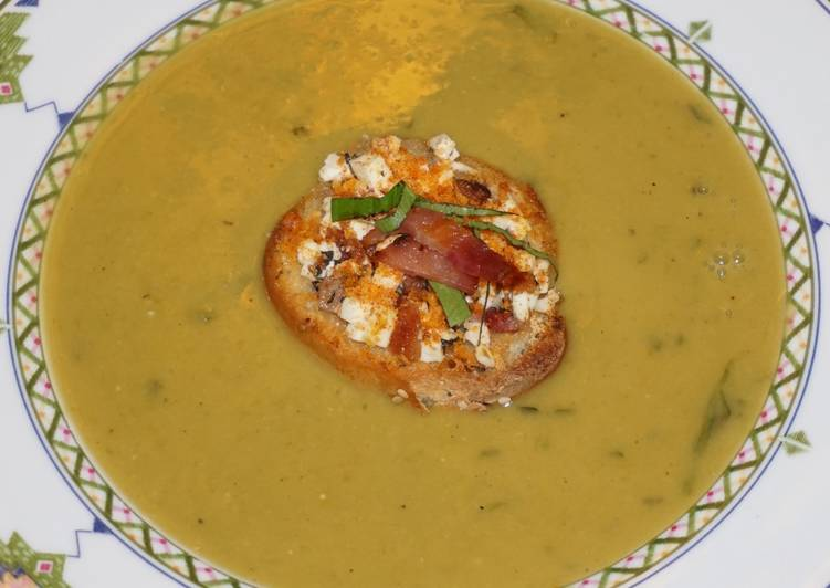 Simple Way to Prepare Most Popular JON'S GREEN SPLIT PEAS SOUP WITH FETA CHEESE AND BACON BRUSCHETA