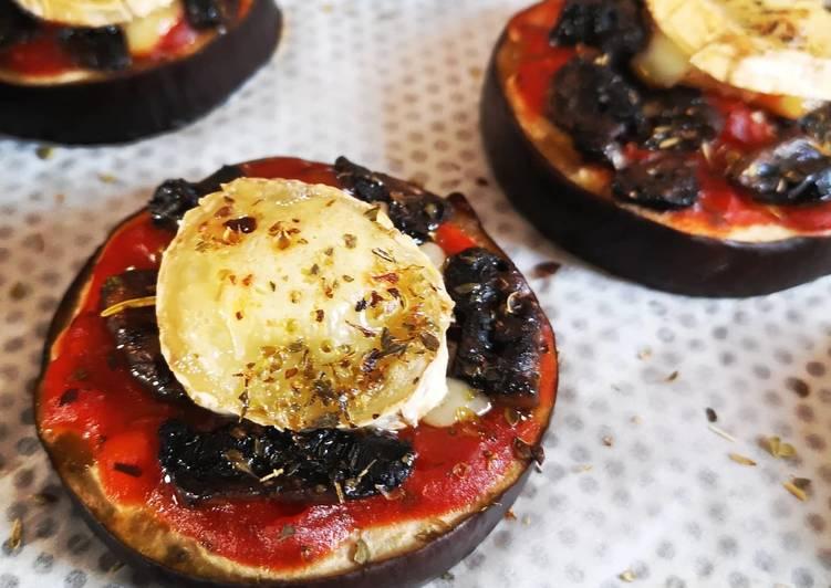 Comment Cuisiner Savoureux Aubergines façon pizza chèvre/tomate/champignons