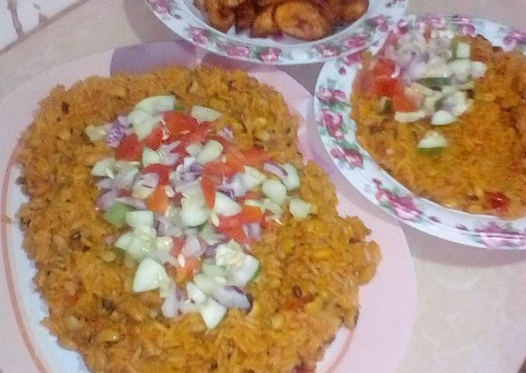 Jollop rice and beans with fried plantain