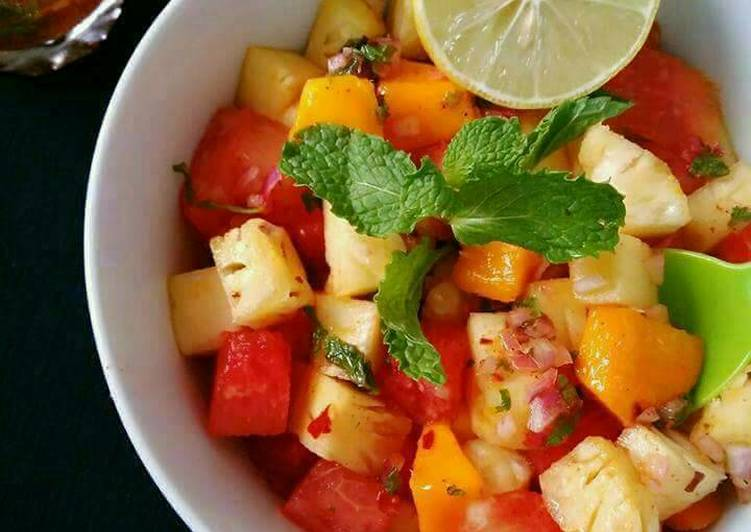 Watermelon Pineapple Salad With Honey Lime Mint Dressing