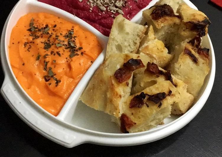 Hummus de remolacha y mayonesa de zanahoria 🥕