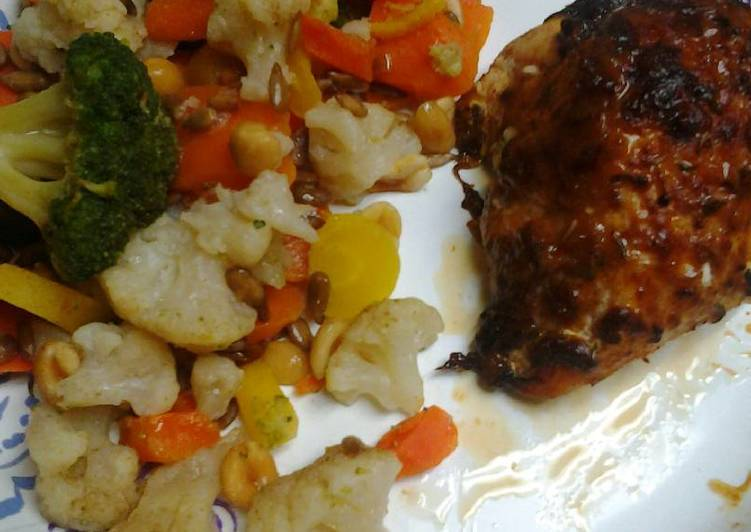 Roasted, Spiced, and herb crusted chicken with buttery vegetables