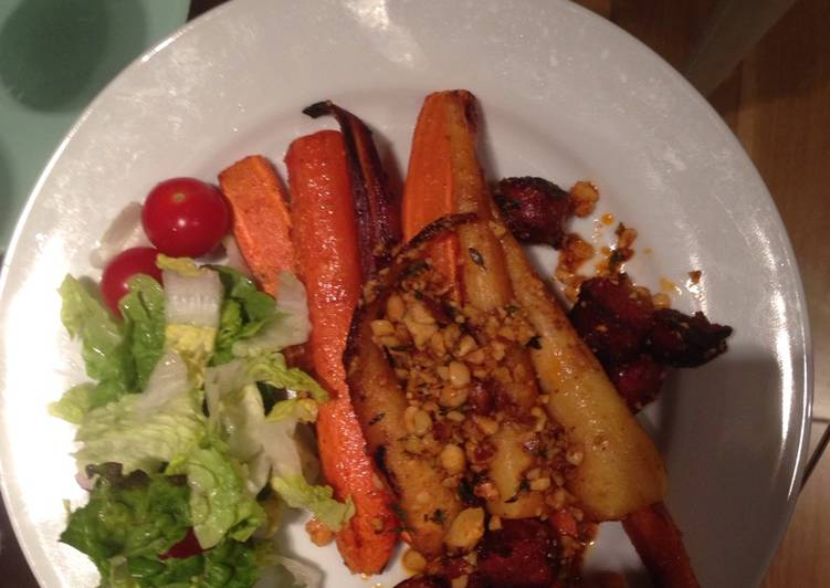 Recipe of Quick Roasted carrots, parsnips and chorizo