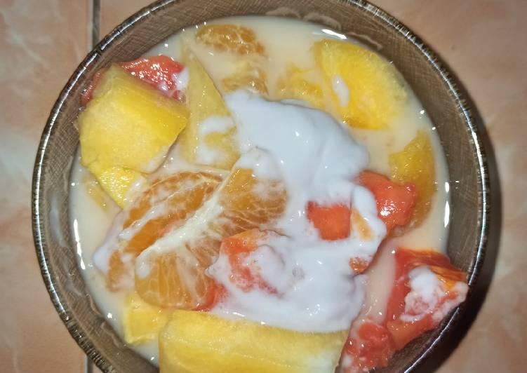 Salad buah yakult - cookandrecipe.com