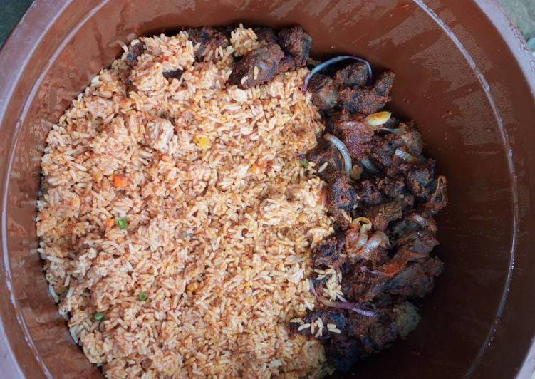 Easiest Way to Prepare Favorite Pepper goat meat & jollof rice