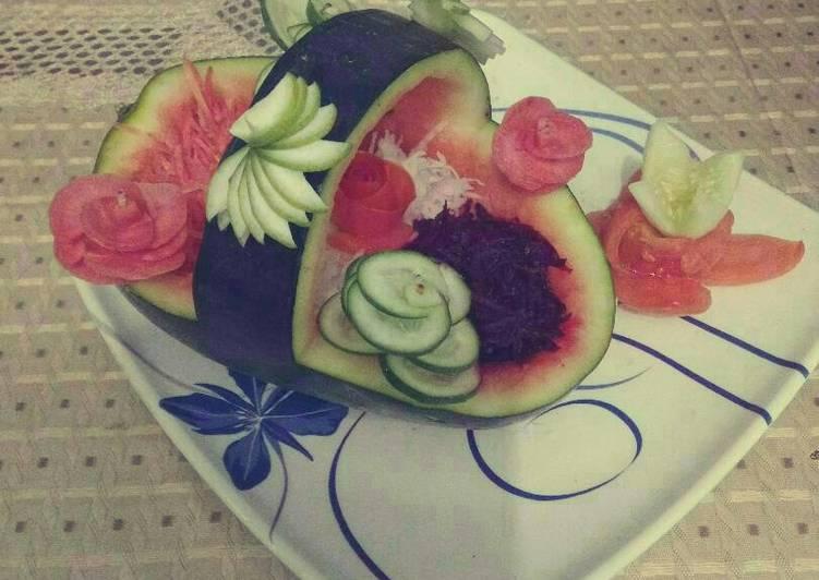 5 Minute Easiest Way to Prepare Spring Fajita salad in watermelon basket