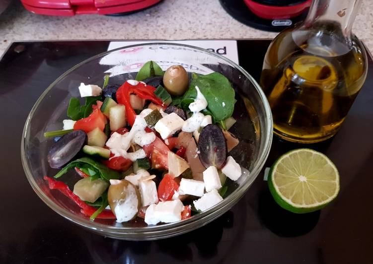 Step-by-Step Guide to Prepare Top-Rated My Cheese & Olive Greek inspired Salad 😀
