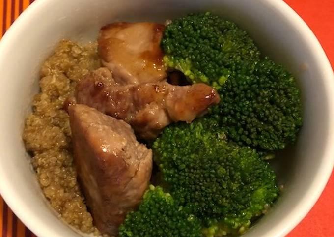 Lomo- brocolis-quinoa en sauce teriyaki