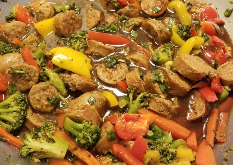 Spicy Sausage Stir Fry with Plum Sauce
