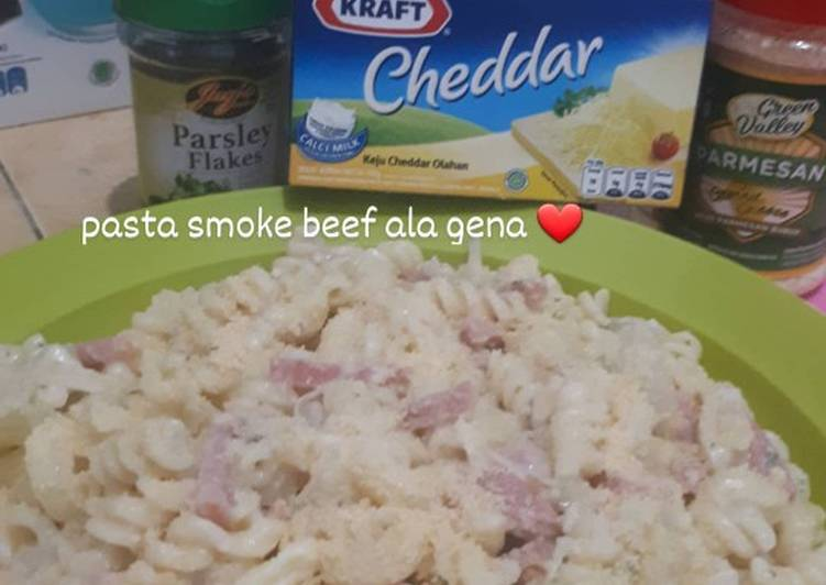 Resep Pasta carbonara smoke beef Anti Gagal