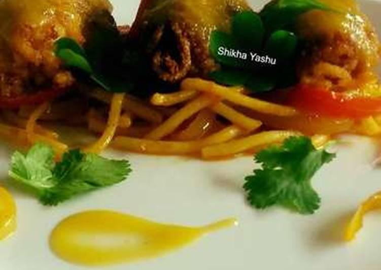 Spaghetti with Banana Kebabs and Tangy Orange Ponzu