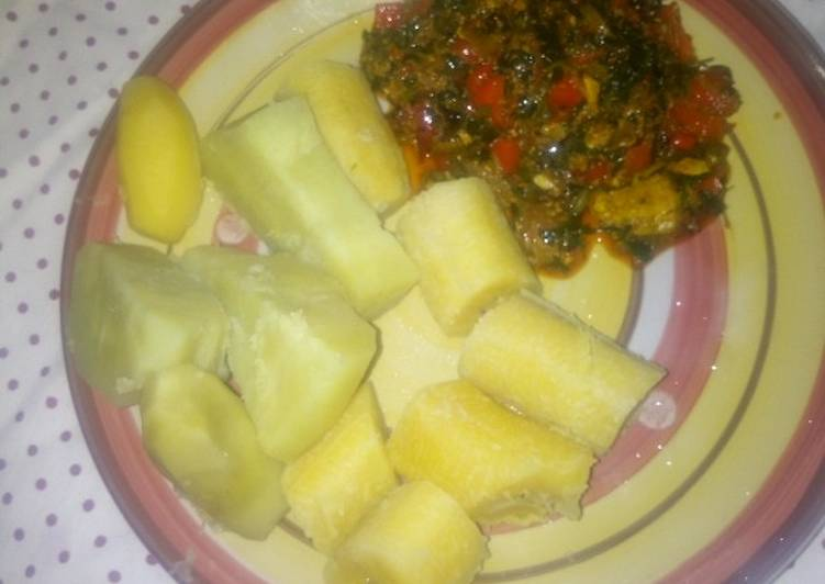Top 100 Dinner Ideas Super Quick Homemade Boiled sweet potato and plantain with ugwu stew