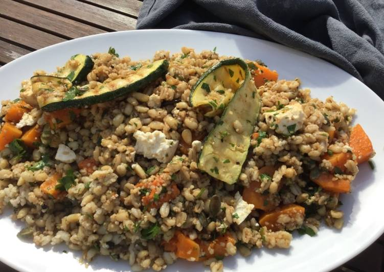 Step-by-Step Guide to Make Homemade Roasted butternut squash with feta and pearl barley #salad