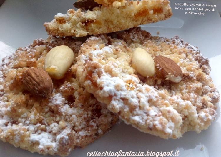 Biscotto crumble senza uovo con confettura di albicocche - senza glutine