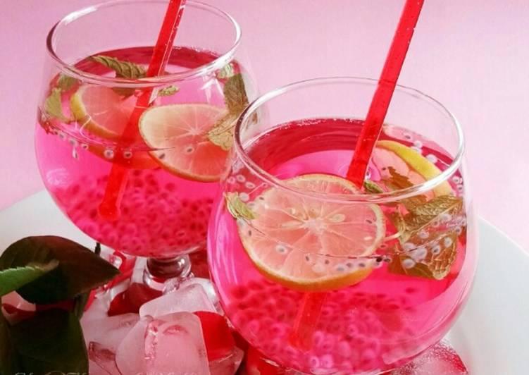 Sparkling Rose chia lemonade