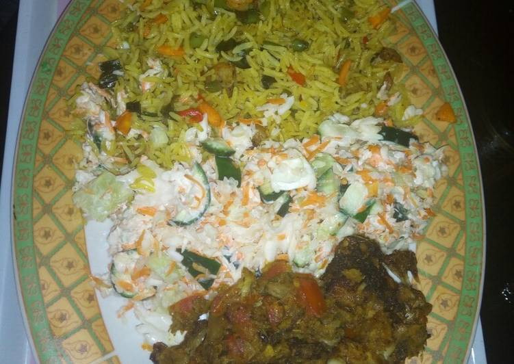 Easiest Way to Prepare Perfect Fried rice, salad and grilled croaker fisg