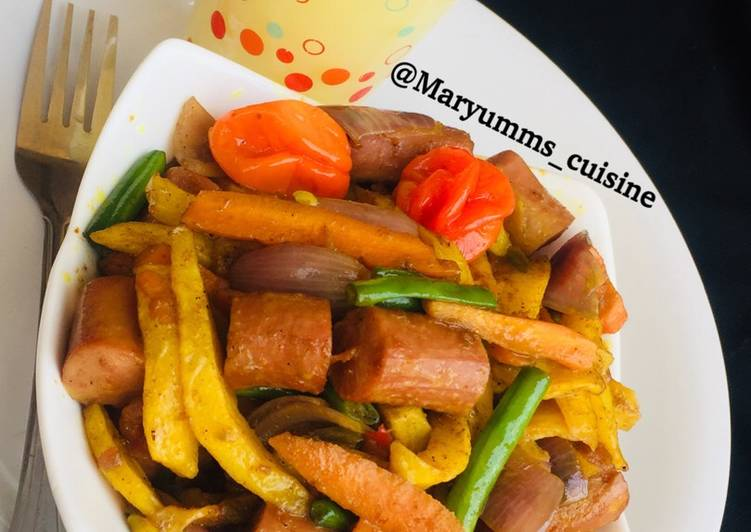 25 Minute Recipe of Any Night Of The Week SPICYSAUSAGE FRENCHFRIES & PINEAPPLE SHAKE by maryumms_cuisine