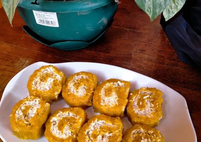 Cara Gampang Menyiapkan Getuk labu kuning dengan keju parut yang Bisa Manjain Lidah