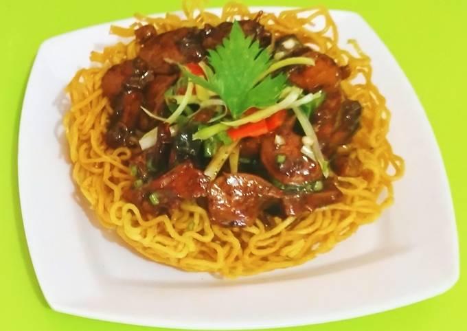 Ifumie goreng+ayam sosis lada hitam