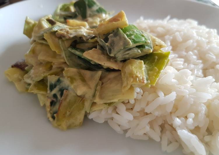 Recette Des Fondue de poireaux au lait de coco et au curry