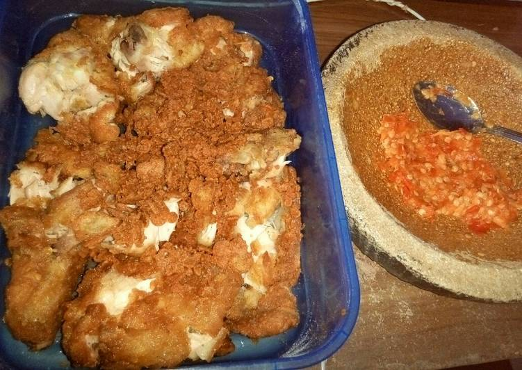 Ayam geprek + simple crazy spicy sambal ala warung nasi Bunda