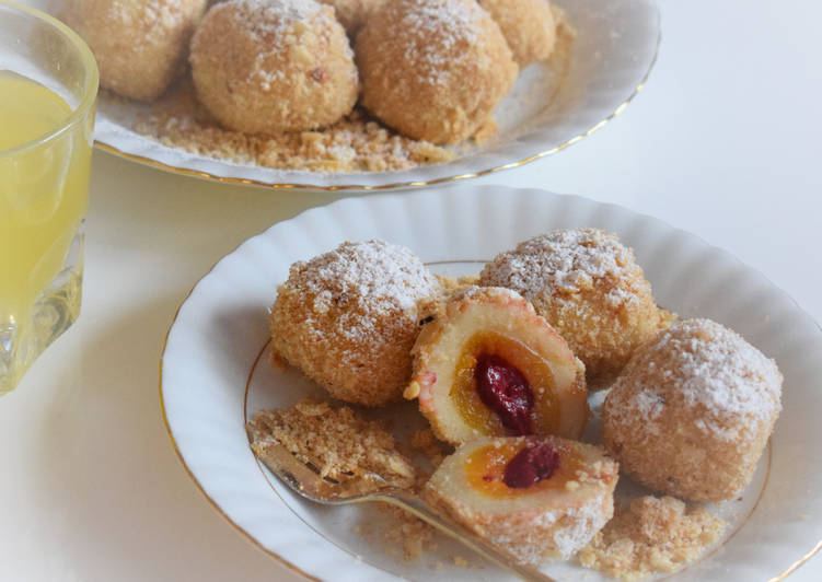 How to Prepare Favorite Apricot / cherry dumplings rolled in roasted almond breadcrumbs