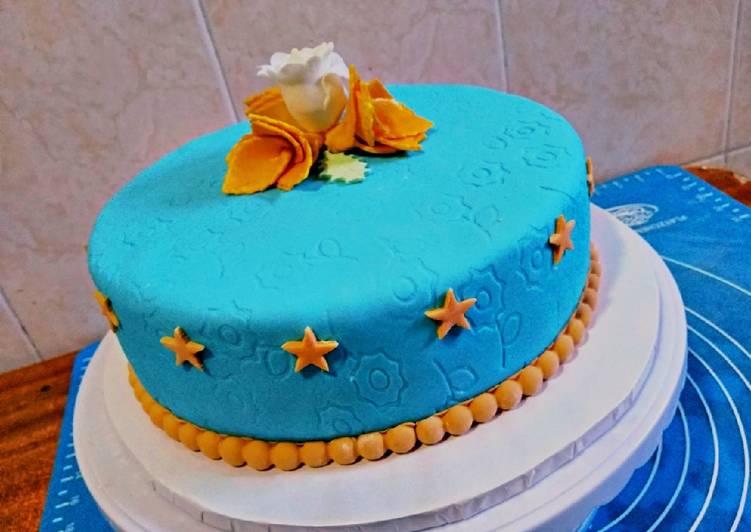 Fondant marble cake#fondantchallenge