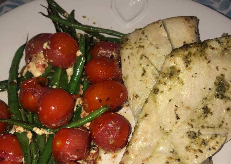 Pan fried angelfish and vegetables