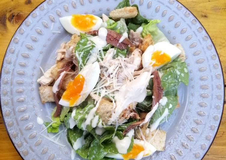 Recipe: Yummy Beer can chicken Caesar salad skinny dressing version