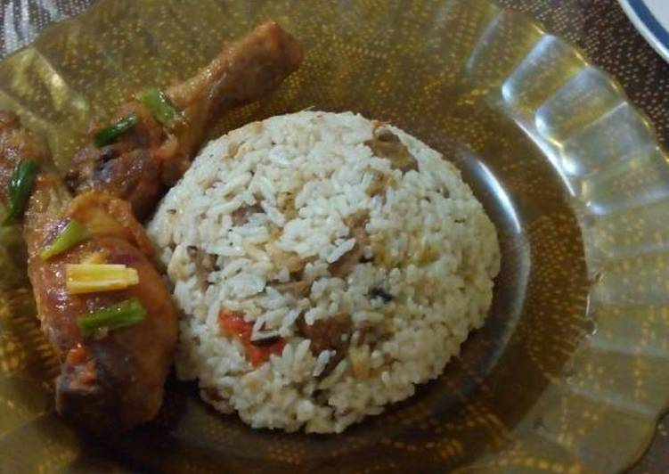 Nasi briyani daging sapi (magic com)