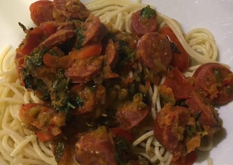 Spaghetti and chorizo