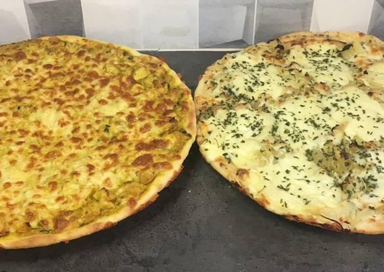 Pizza poulet curry et savoyarde 🍕