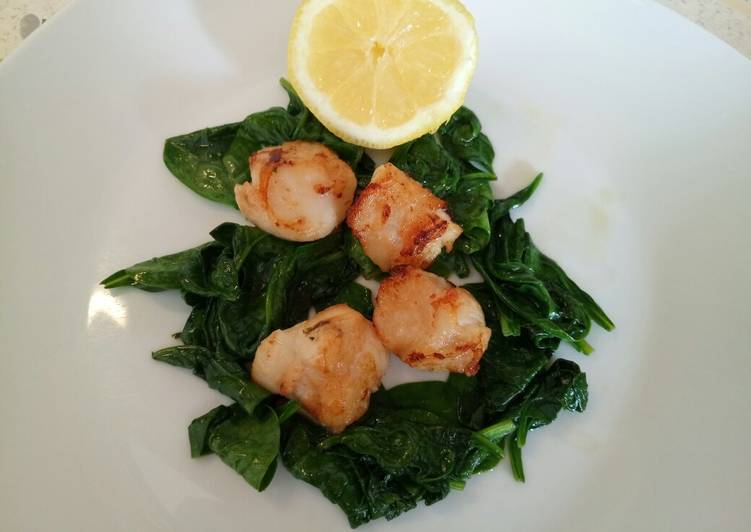 Learn How to Improve Your Mood with Food Pan fried scallops with wilted spinach