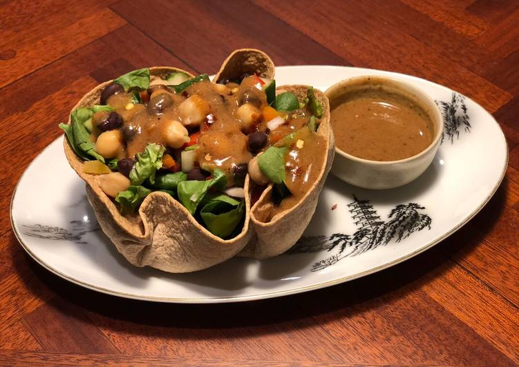 Tortilla Greens Chickpeas Salad Bowl with Refried Bean Dates dressing