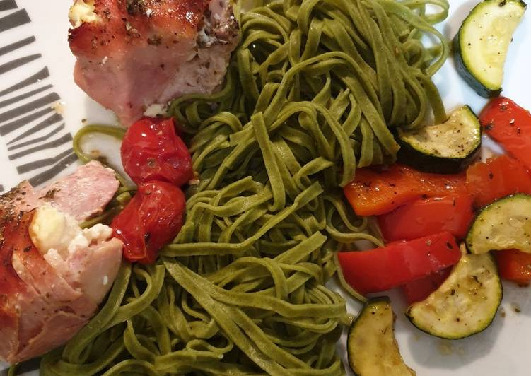 Recipe of Perfect Baked garlic chicken with roasted veg and linguine